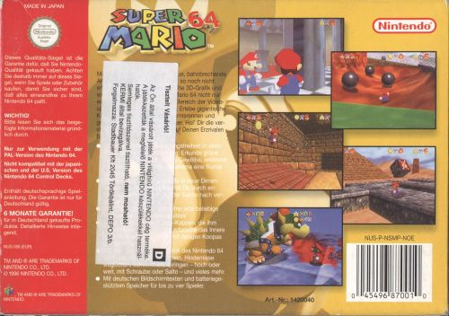 Super Mario 64 PAL back
